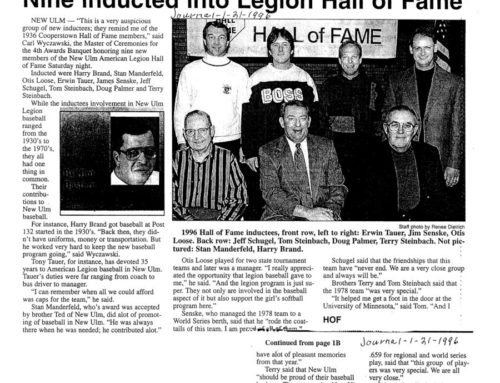 NINE INDUCTED INTO LEGION HALL OF FAME