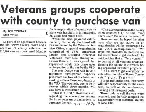 VETERANS GROUPS COOPERATE WITH COUNTY TO PURCHASE VAN